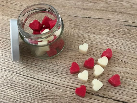 Mini Hearts Wax Melts Jar Heart Wax Melts Scented by Halliescents