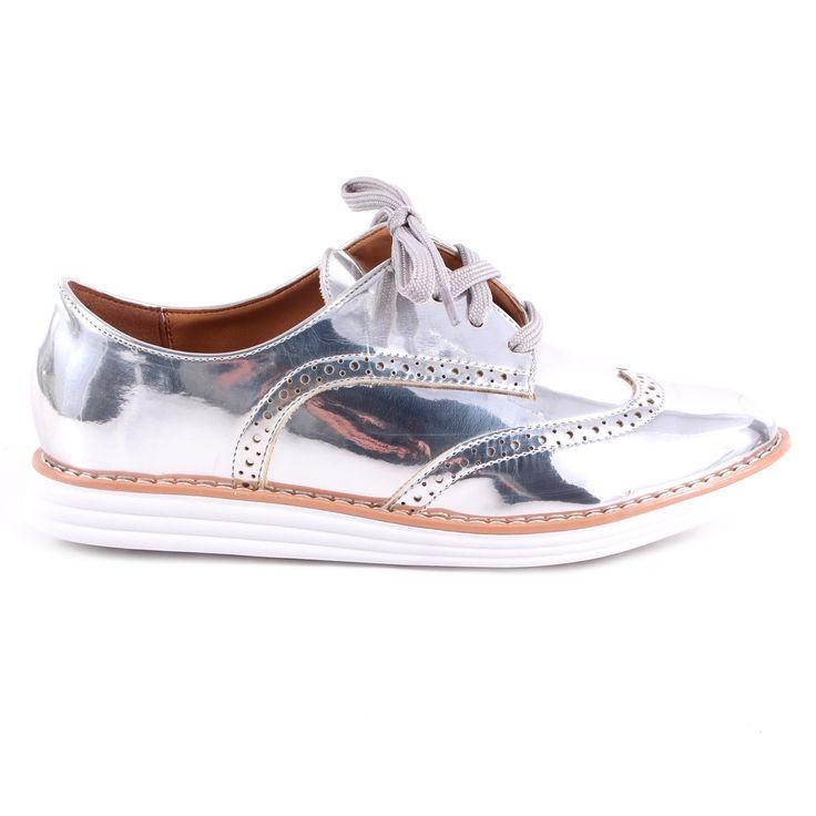 Sapato Oxford Vizzano Prata Metalizado