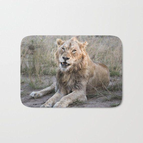 Male Lion Portrait Shower Curtain Photo Print Shower Curtain