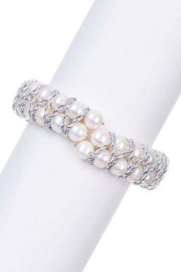 7-8mm White Freshwater Pearl & Woven Thread Coil Bracelet by Splendid Pearls on @nordstrom_rack