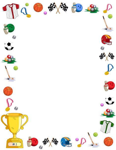 Page border featuring sports-related graphics like basketballs, football helmets, and more. Free downloads at http://pageborders.org/download/sports-border/
