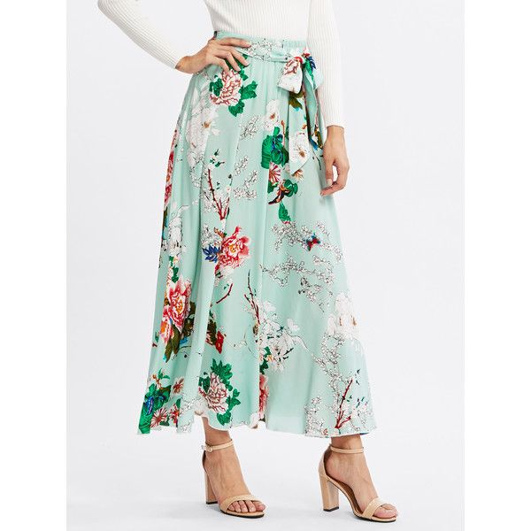 SheIn(sheinside) Self Belted Floral Skirt ($19) ❤ liked on Polyvore featuring skirts, multi, floral maxi skirt, white floral maxi skirt, long green skirt, maxi skirts and floral print maxi skirt