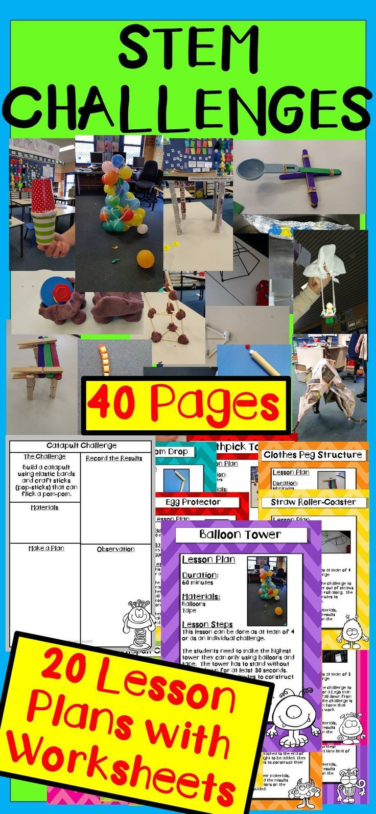 STEM Challenges on a budget for Grades 2 - 5 (However can easily be used   in lower ECE grades too with an assistant) (Science, Technology,   Engineering and Maths) This pack includes 40 pages There are 20 lesson   plans accompanied by 20 activity sheets.