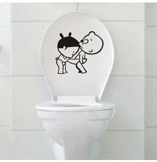 2014 новый мальчик и девочка туалет стикер ванная комната обои мультфильм главная переводные картинки съемный DIY