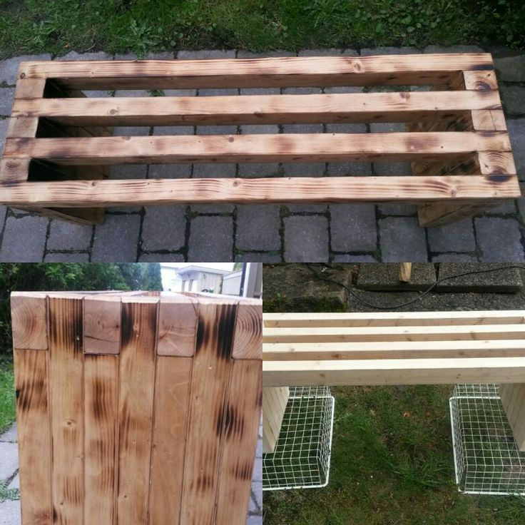 """Bench made of 2 """"4 Burned wood to get more rustic look. Oiled in front of the iceberg in my greenhouse. Thank you Anna White for inspiration and recommend and follow what she's making."""