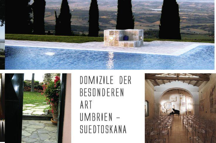 """Pool mit dem """"Fenster"""" nach Umbrien: Boro Poggio Bianco (oben). B&B Il Torrione in Casteglione del Lago mit Gartenterrasse und Blick auf den Lago Trasimeno. Kirchenraum im Borgo Castello di Postignano in Umbrien."""