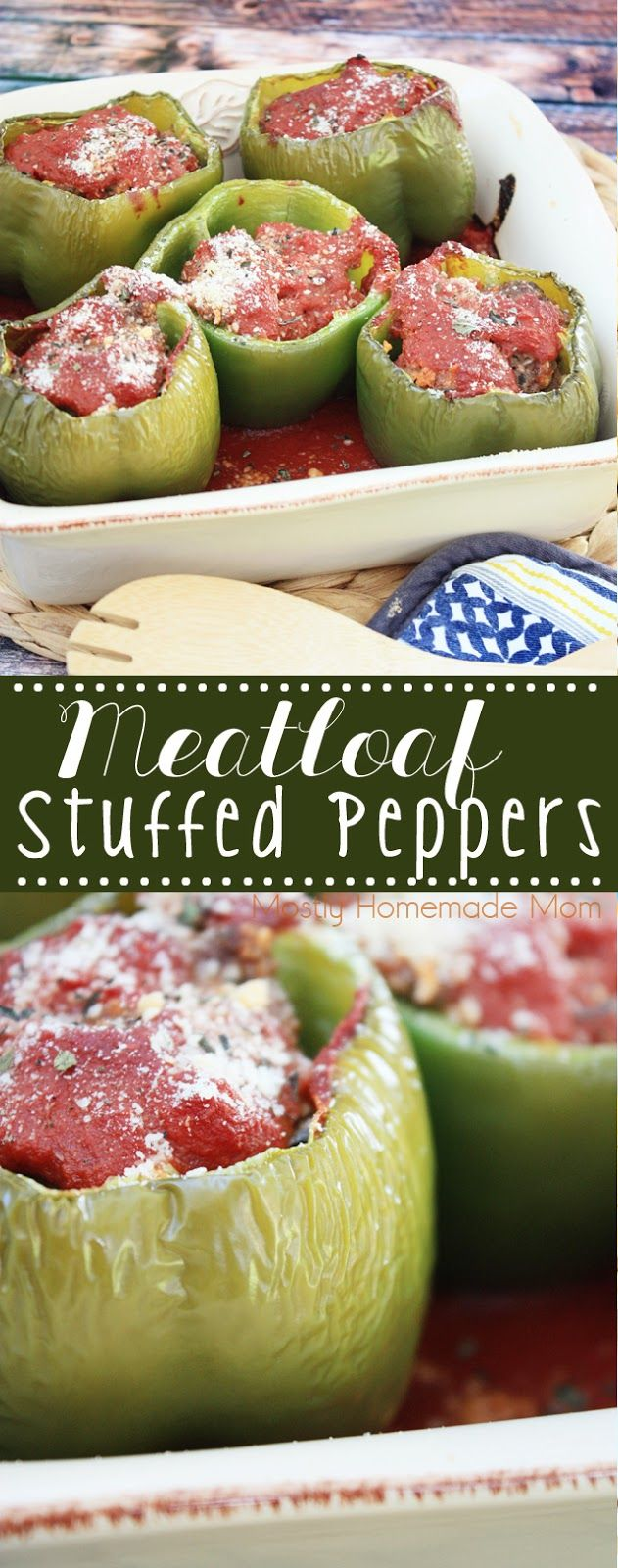 Meatloaf Stuffed Peppers - the perfect favorite dinner recipe mashup! If your family loves stuffed peppers and meatloaf, they'll go crazy for this dinner idea!