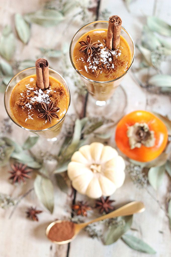 Spicy Pumpkin Persimmon Smoothie // I've been really into making my own pumpkin puree this fall! One day when I was experimenting, I tried some in a smoothie, combined with sweet and creamy persimmon, and spicy fall flavours like fresh ginger, cinnamon, nutmeg and cloves. This is one of my favourite smoothies yet -- it tastes like an indulgent treat, but it's brimming with healthy, nourishing ingredients! // JustineCelina.com