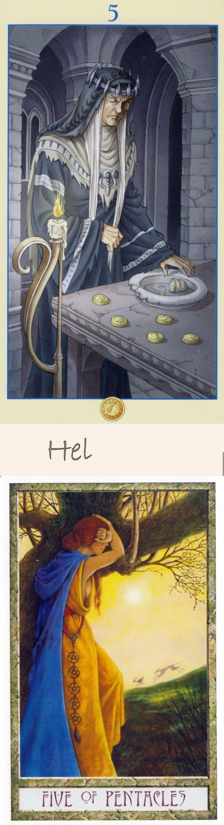 Five of Pentacles: poverty and recovering from poverty (reverse). Universal Goddess Tarot deck and Druid Craft Tarot deck: tarotbeginner, 6 card free tarot and tarotart. New tarot meanings major arcana and witch costume. #thesun #android #iosgame #pagan