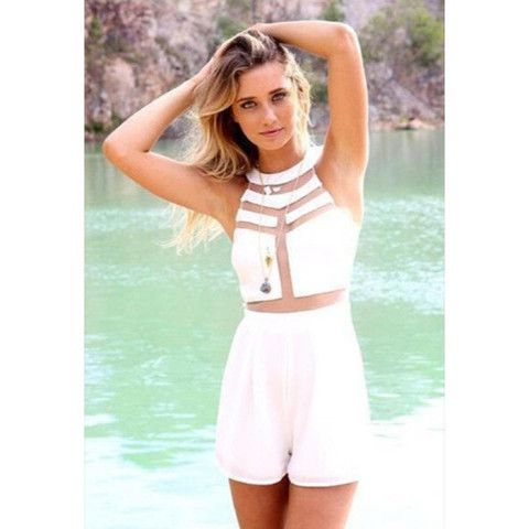 New White Mesh Playsuit available now at Ruby Liu! ♡ http://rubyliuboutique.com/collections/jumpsuits?page=2