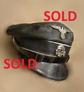 WAFFEN SS LEATHER BLACK CRUSHER VISOR CAP GERMAN WW2 PRICE $2499