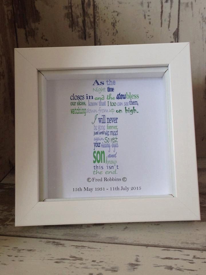Wall Art ~ Memorial Gift in a shadow box frame ~ Memorial verse ~ Choose own wording and colours by FunkyDesignsbyDi on Etsy