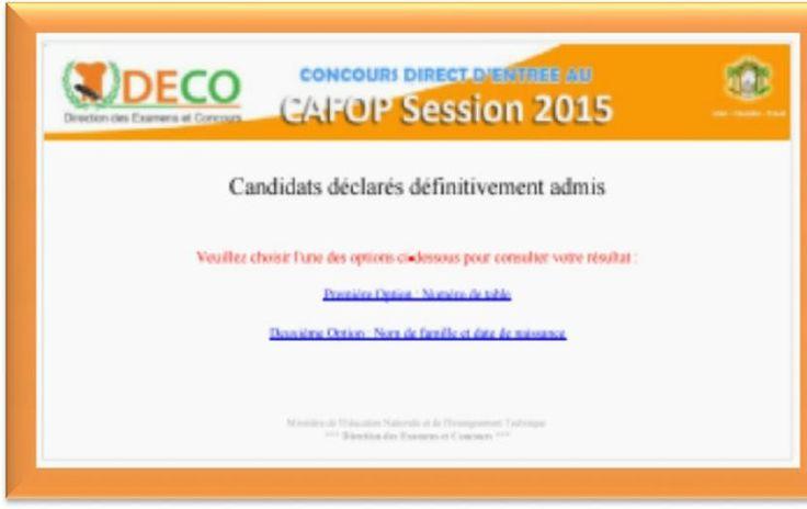MENET/DECO/RÉSULTATS DÉFINITIFS CAFOP SESSION 2015 PUBLIER LE 30.07.2015 A 15 HEURE
