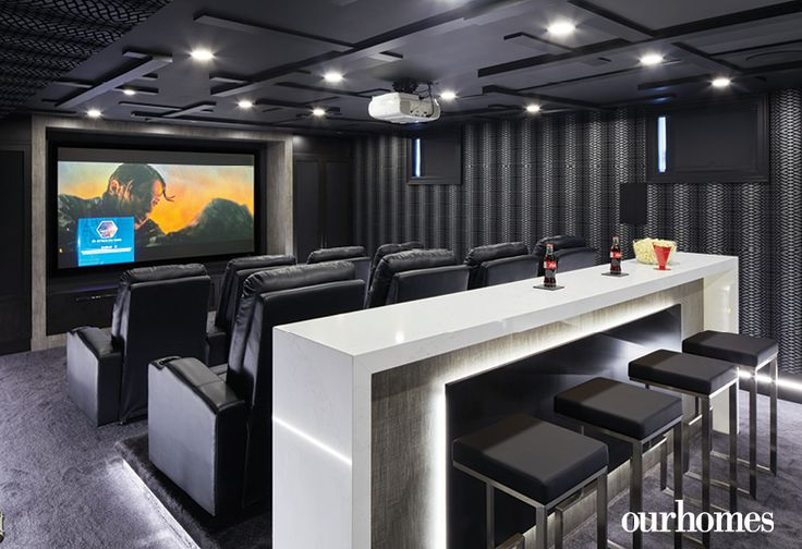 Nothing is forgotten in the spectacular lower-level theatre room. See more at http://www.ourhomes.ca/articles/build/article/dedicated-to-details