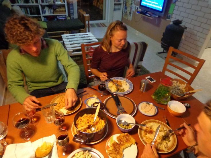 Shabbat dinner at hostel in Mitzpe Ramon in Israel