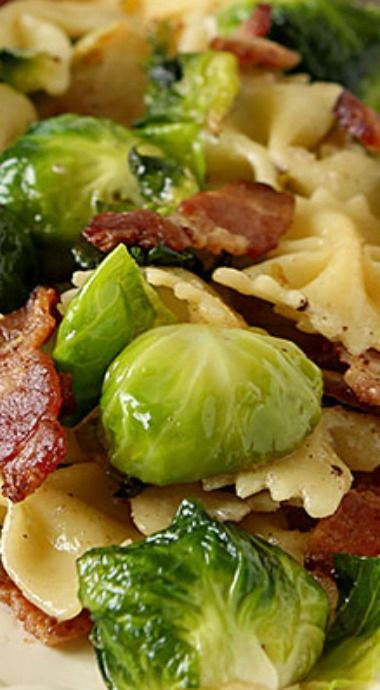Bowtie Pasta with Bacon and Brissels Sprouts