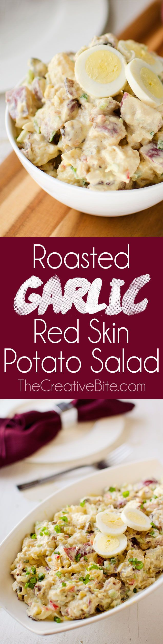 Roasted Garlic & Red Skin Potato Salad is a delicious twist on creamy potato salad recipe with roasted garlic and bacon. This hearty salad is sure to be a hit at your next picnic or potluck! #PotatoSalad #Picnic