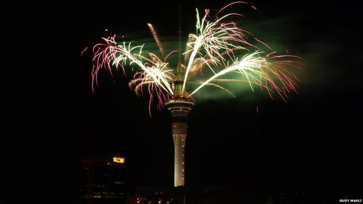 Fireworks on top of Auckland's Sky Tower, New Zealand. Photo: Rudy Mahli