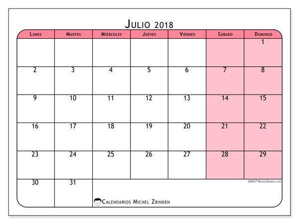 Calendario julio 2018 (64LD) calendario Pinterest Diy string