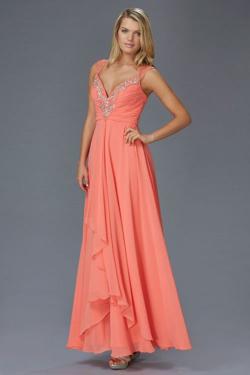 G2023 Long Chiffon Bridesmaid Prom Formal Dress with Straps