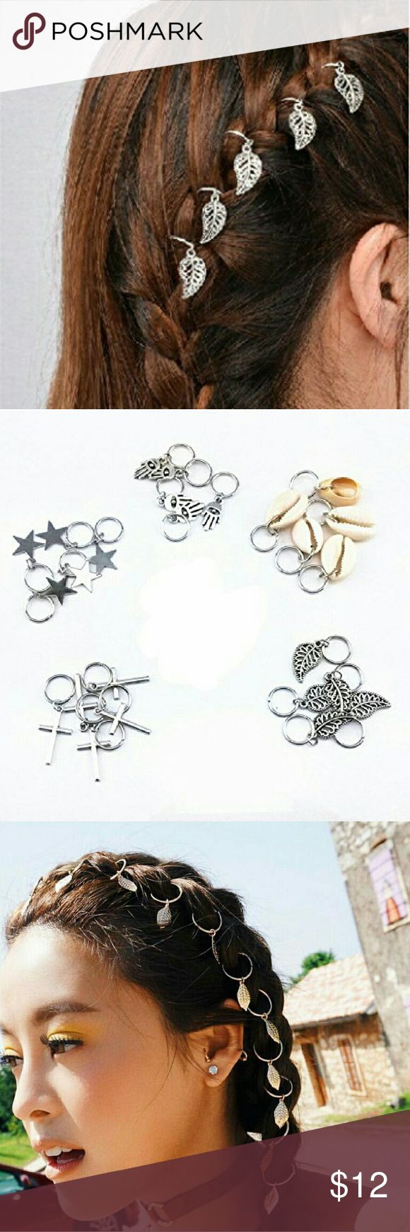 "Hair Bling! Braid Rings for Hair ""Piercing"" Hot new trend!  These silvertone hair ring ornaments are perfect for sporting this new look.  Use in braids, or buns or other styles. Size 9-20 mm depending on attachments. 5 rings in each pack. Accessories Hair Accessories"