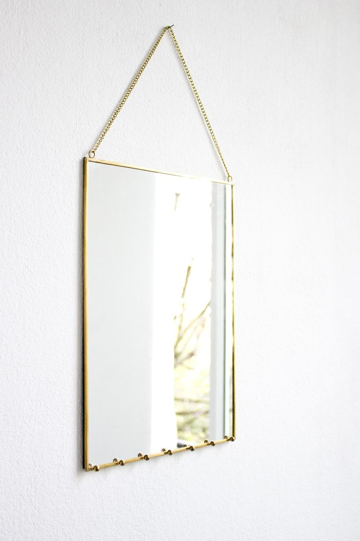 Maybe on the small side? Brass Frame Mirror with Jewellery Hooks - Mirrors - Home Accessories