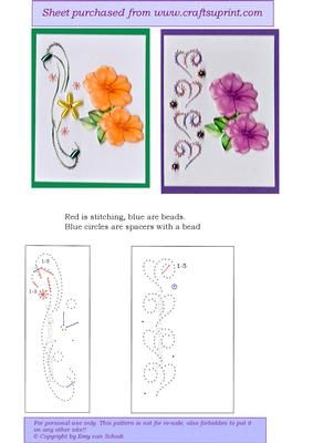 ATC ED003 on Craftsuprint designed by Emy van Schaik - Stitching with beads - Now available for download!