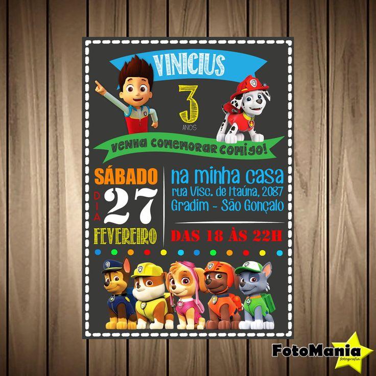 Convite DIGITAL Patrulha Canina | FotoMania Estúdio | Elo7