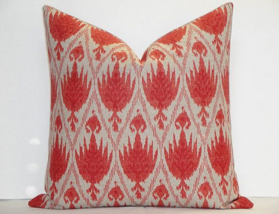 casablanca flax ikat decorative pillow cover coral red throw pillow accent pillow geranium red pillow coral pillow flax pillow
