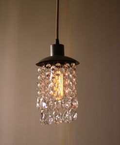 Metal Pendant Light With Crystals