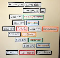 """Love this one - change it to """"enter this school"""" and """"we are here"""" - print them all in large font on cardstock - and this could be great as part of the central board.  Would be even better if we added pictures to the descriptors...."""