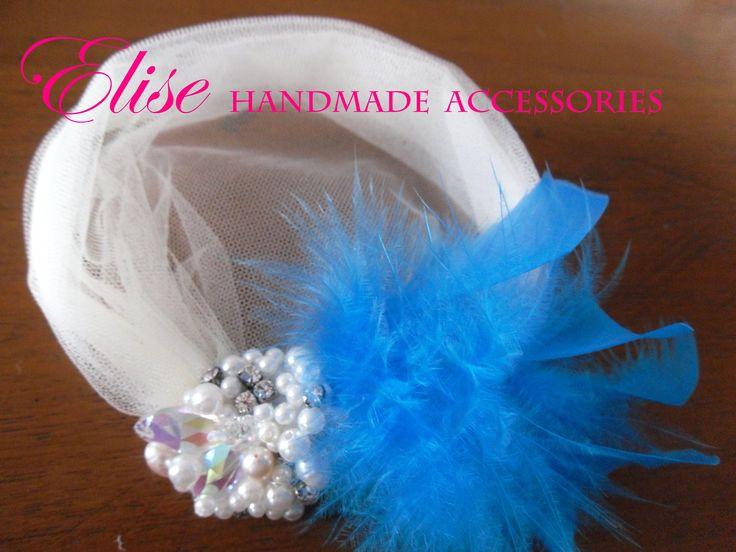 headpiece with tulle birdcage blue tosca