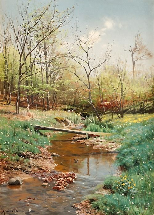 Peder Mork Mönsted (1859-1941) - Landscape with stream, oil on canvas 68 x 48.5 cm. 1902.