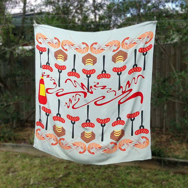 Snags and Shrimps Silk Scarf - Shop Online - Design Studio Rock and Gold