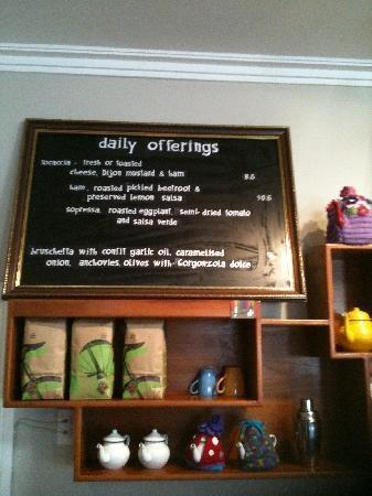 Daily offerings.  Cafe Derailleur, Wangaratta, Australia