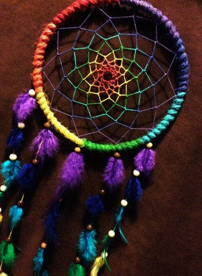 Dream Catcher Rainbow Dreams Hand Painted Dream by MoonMotions