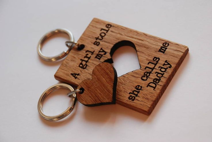 A quote that will make the Daddy in your house smile everyday and his 'heart' can be kept by his daughter. laser engraved with the quote 'A girl stole my heart, she calls me Daddy'. Solid oak, with a mineral oil finish.Height - 5cm Width - 7cm Depth - 0.6cm