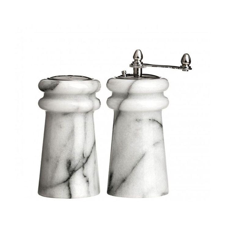 Salière Et Moulin À Poivre En Marbre Blanc – Taille : Taille Unique