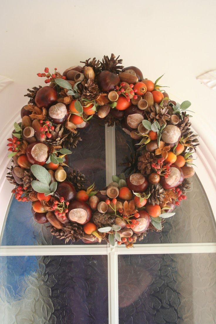 Türkranz selber basteln DIY   #kastanien #deko #herbst #diy #chestnut #decor
