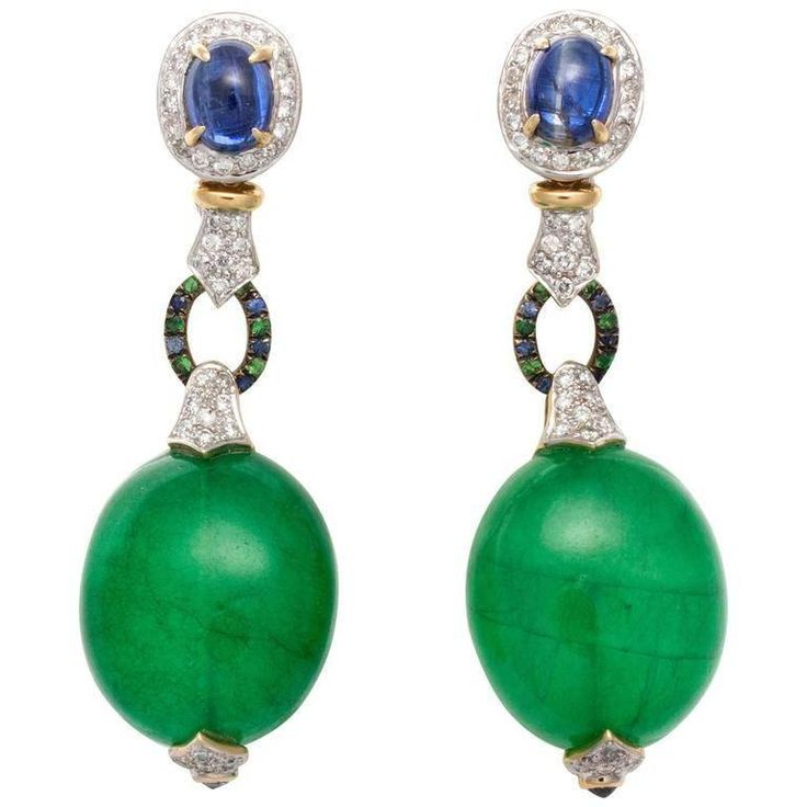 Large Green Quartz Sapphire Diamond Gold Platinum Earrings | From a unique collection of vintage drop earrings at https://www.1stdibs.com/jewelry/earrings/drop-earrings/