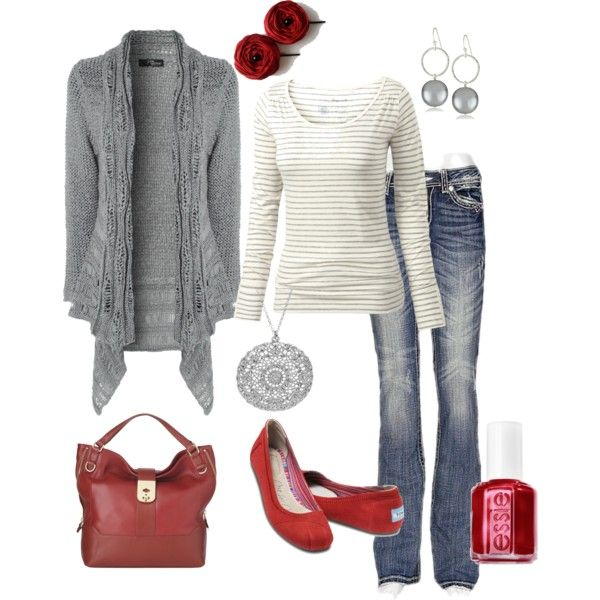 """Gray and Red"" by nursiechrysie on Polyvore"