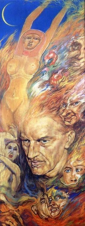 Austin Osman Spare - The Ecpyrosis ---------- Ott lobog arcodon a láng, tekinteted mögött a világ.
