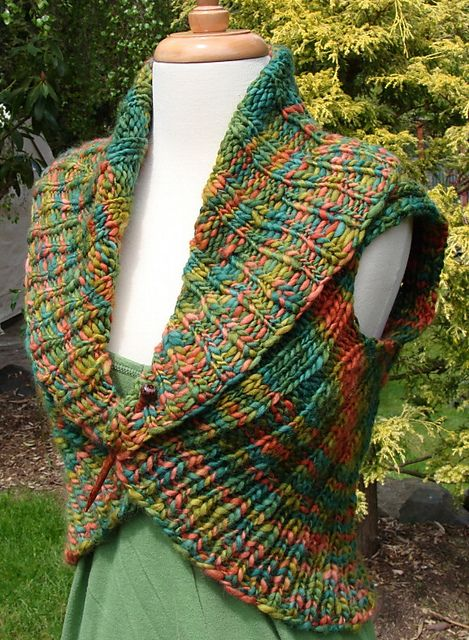 Shawl Collar Vest By Jennifer Miller - Free Knitted Pattern - (ravelry)- add sleeves.