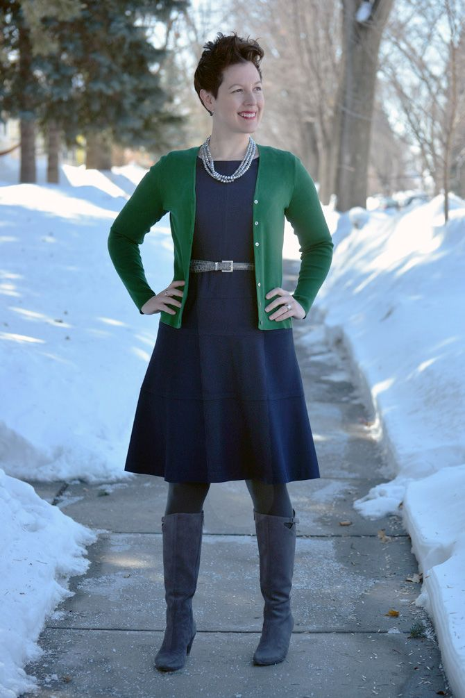 Navy blue dress what color cardigan
