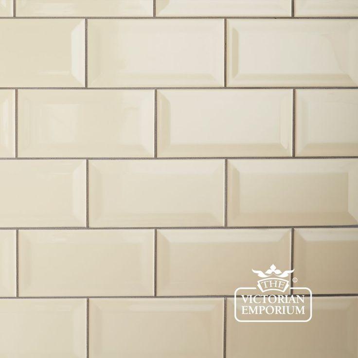Buy Bevel Wall Tiles 100x200mm Cream Plain Tiles