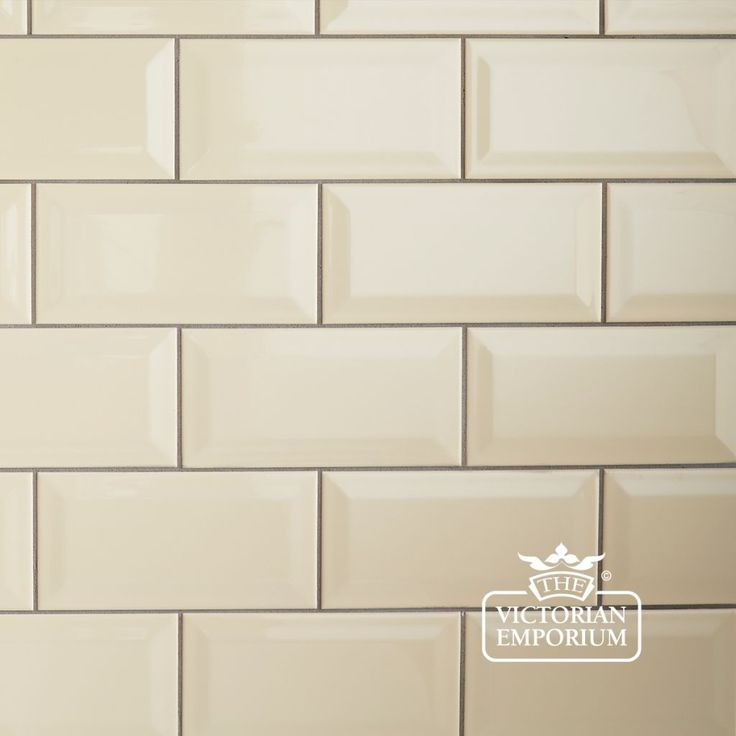 Buy Bevel wall tiles - 100x200mm cream, Plain tiles - Bevel wall tiles, perfect for Victorian kitchens and bathrooms