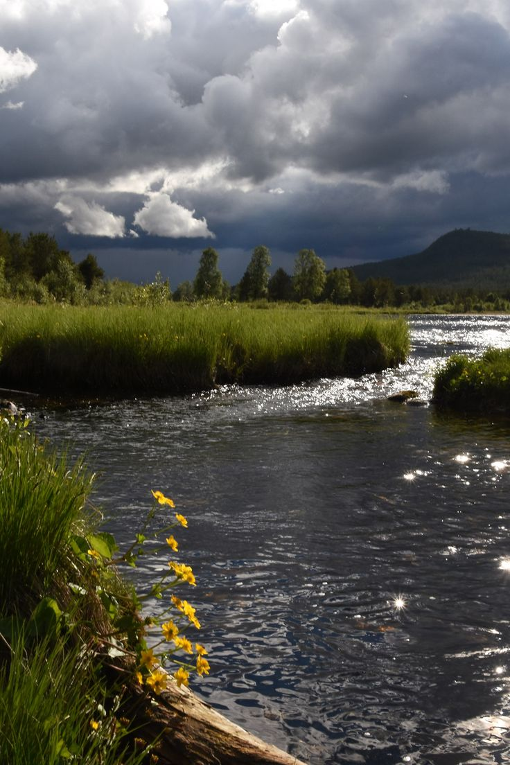 Rivers, clouds and sun in Rondane