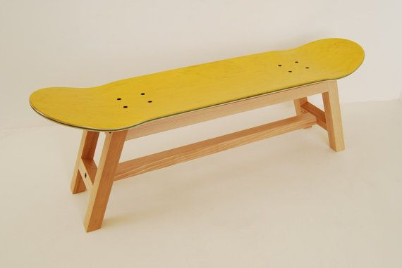 Stool with legs of solid beech wood and original skateboard deck. The Nollie Heelflip Stool is strong and comfortable.  Assembly is required.