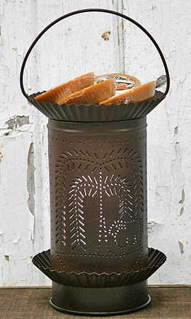 """Rustic """"Willow Tree"""" Tin Punched Tart Warmer"""