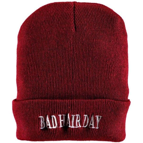 Boohoo Cara Bad Hair Day Slogan Beanie | Boohoo (355 RUB) ❤ liked on Polyvore featuring accessories, hats, beanie caps, beanie cap hat and beanie hat